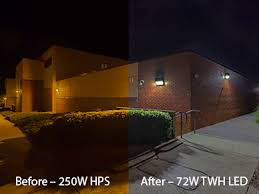 Before and after pic of building lighting system