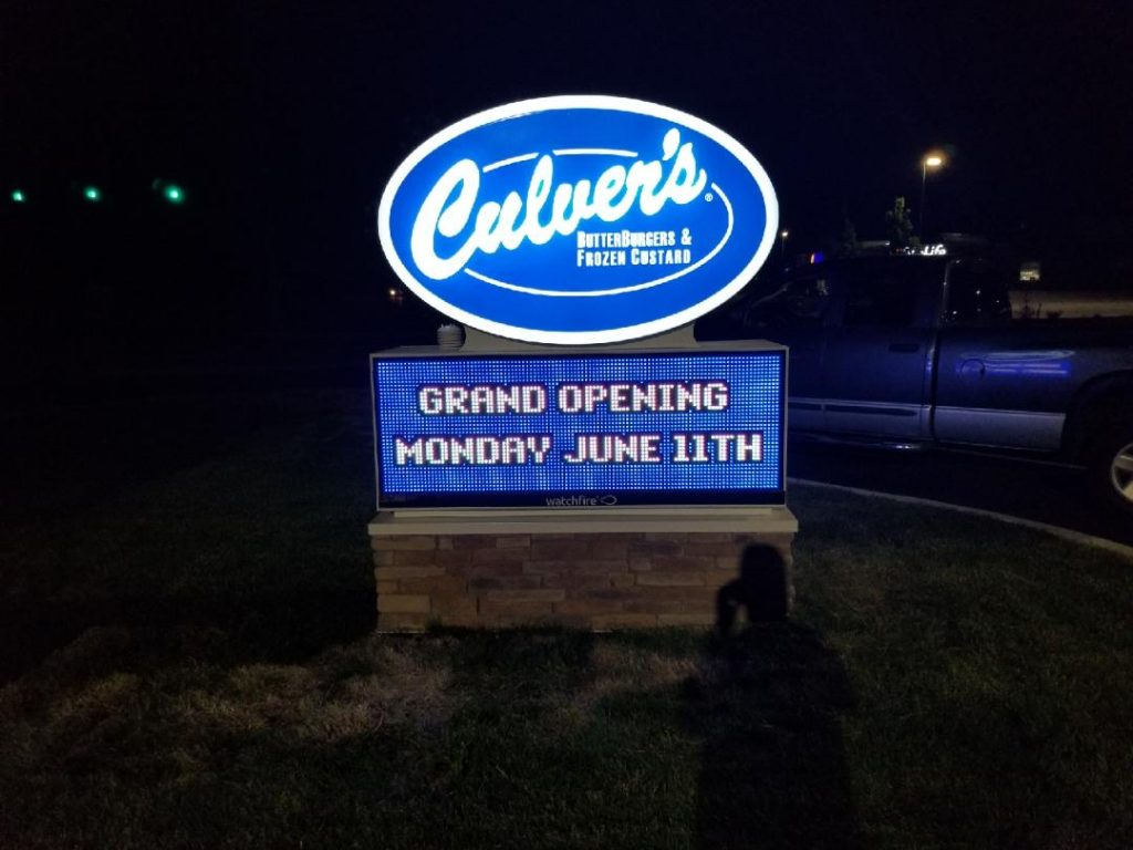 Culvers digital led board in greenwood