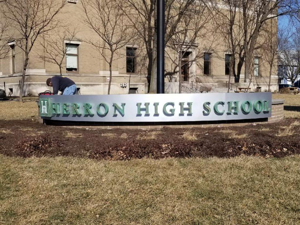 Herron High School monument sign indianapolis