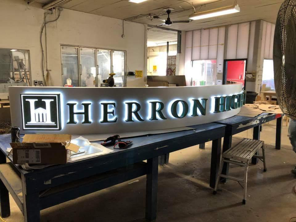 fabrication process of Herron High School sign in Indianapolis